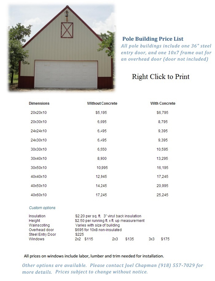 Here labor cost for pole barn construction for Building a house cost checklist